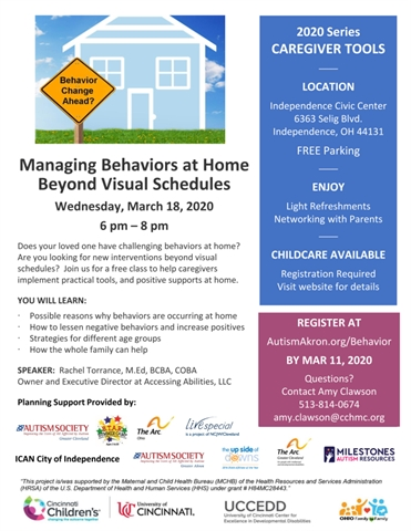 Managing Behaviors at Home Beyond Visual Scheduled